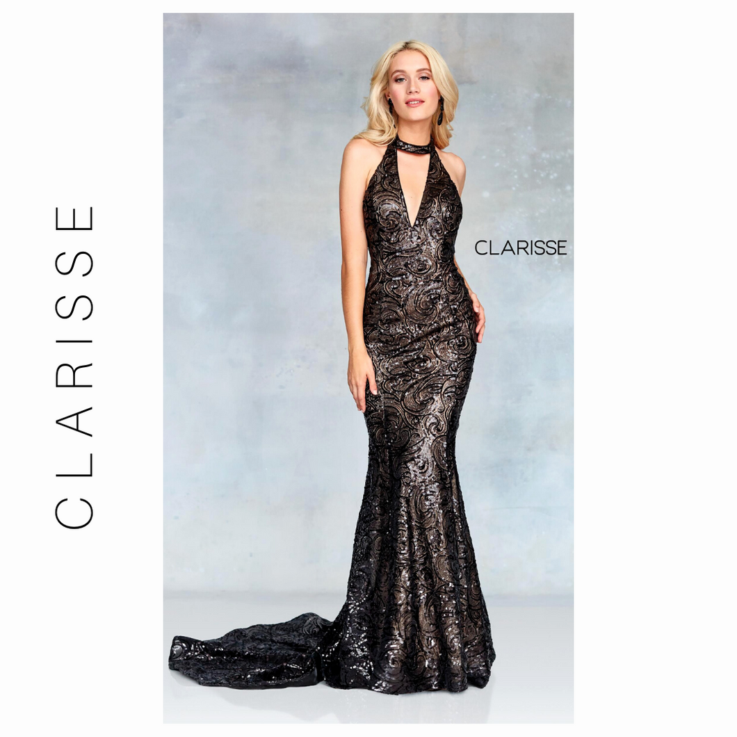 Clarisse Glamorous Black/ Nude Sequined Prom Dress - 3721