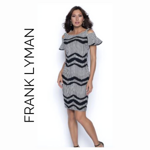 Frank Lyman Black and White Zig Zag with Ruffle Sleeves
