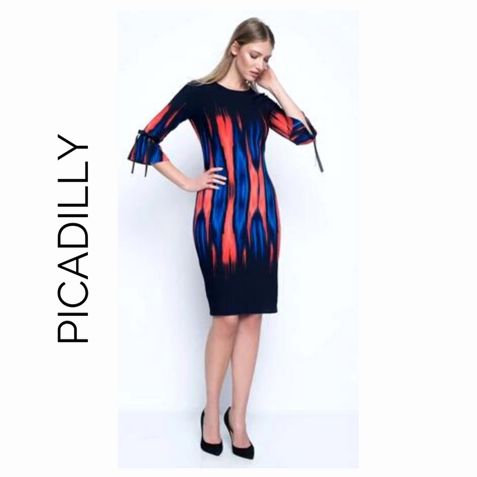 Picadilly Navy Red & Blue Dress with Bows