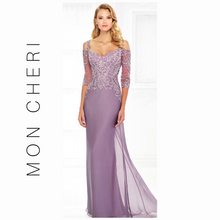 Load image into Gallery viewer, MONTAGE BY MON CHERI - PLUM METALLIC LACE BODICE CHIFFON GOWN 118974