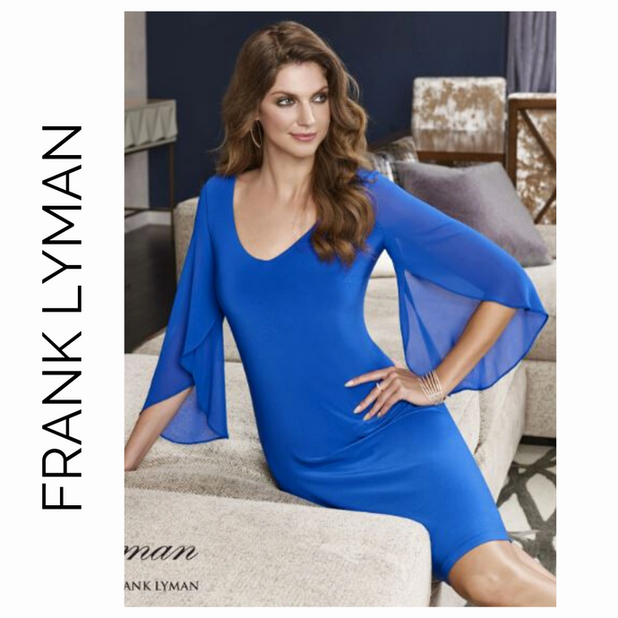 FRANK LYMAN Royal Blue Sheer Sleeve 198040