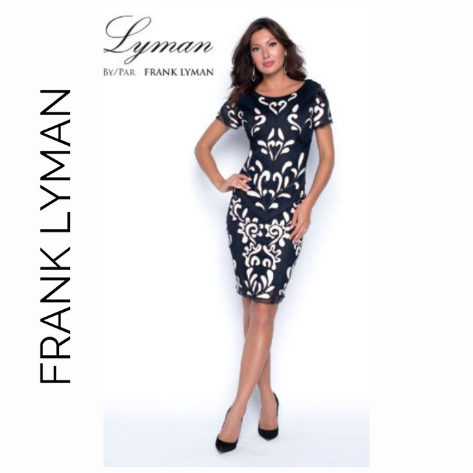 Frank Lyman // Navy Blue and white scroll 198111U