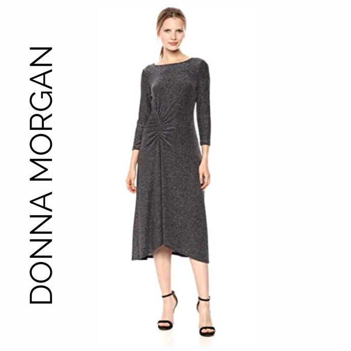 Donna Morgan Glitter Metallic Thread Midi Cocktail Dress