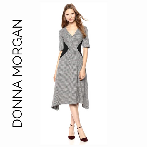 Donna Morgan Brown & Black Houndstooth Tea Length Dress