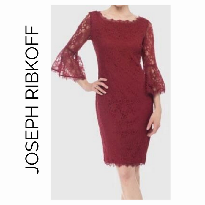 Joseph Ribkoff Wine Red Lace Flutter Dress