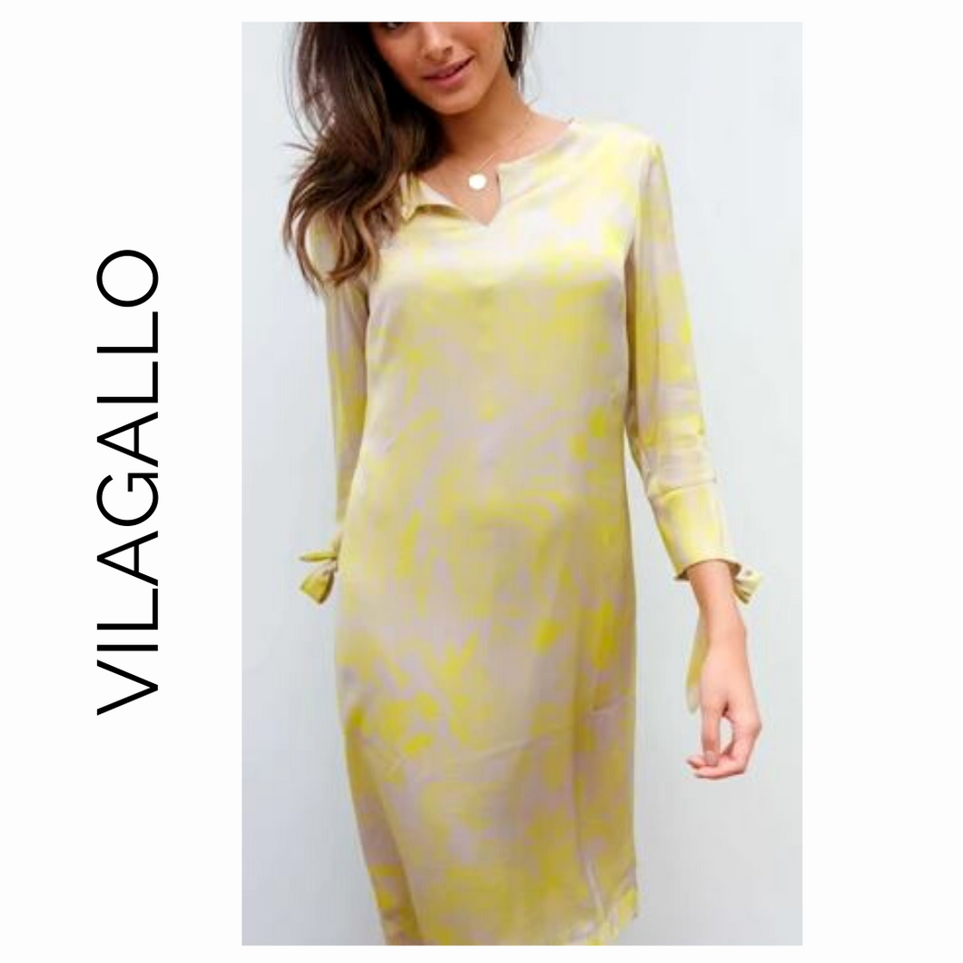 VILAGALLO Beige & Yellow Dress with Ties