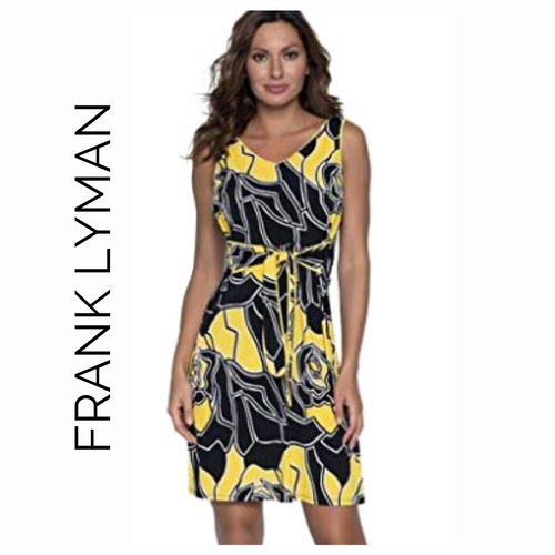 Frank Lyman Black & Yellow Flower Dress with Tie