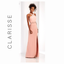 Load image into Gallery viewer, CLARISSE BLUSH SHEER STRIPED HALTER STRAP GOWN