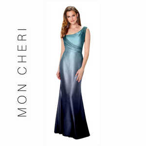 MONTAGE BY MON CHERI - 119950 ASYMMETRICAL DRAPED GOWN PEACOCK