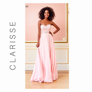 CLARISSE BLUSH PINK STRAPLESS PAISLEY MOTIF CHIFFON GOWN