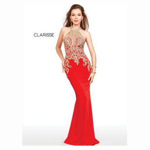 Clarisse 4962 Red & Gold Gown