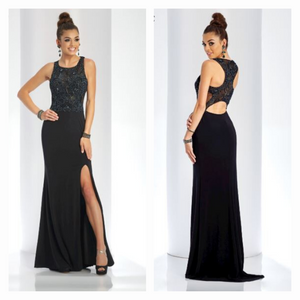 CLARISSE  Black Long Formal Prom 3498