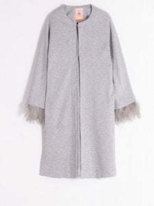 Villagallo Silver Jacket with Removable Feather Trim
