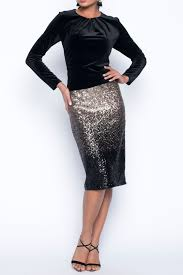 Frank Lyman Champagne and Black Ombre Sequin Skirt 199265