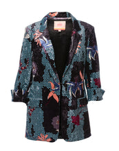 Load image into Gallery viewer, VILAGALLO Clover Black and Blue Floral Velvet Blazer