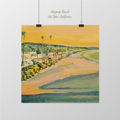 Stingrey Beach, View South from Dog Beach,  Del Mar - Sunny-Creek-Studios