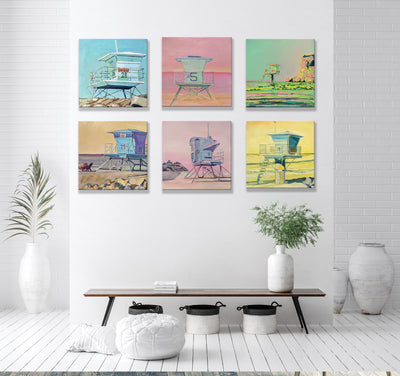 "Original Coastal Series of Six Paintings - 16"" x 16"" - Sunny-Creek-Studios"