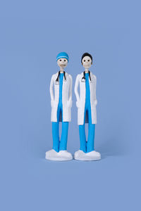 Hand-made clay figurines, Dr.Hope and Dr.Angel are both wearing blue scrubs and white coats, the Earth's Angels collection was made to honor front-line workers during the covid-19 pandemic. All our Catrines and Catrinas are made in Mexico, we ship worldwide. Add a classy touch of Mexican art to your home or office.