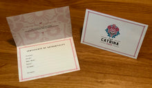 Load image into Gallery viewer, Every Catrina comes with a Certificate of Authenticity signed by the artist.
