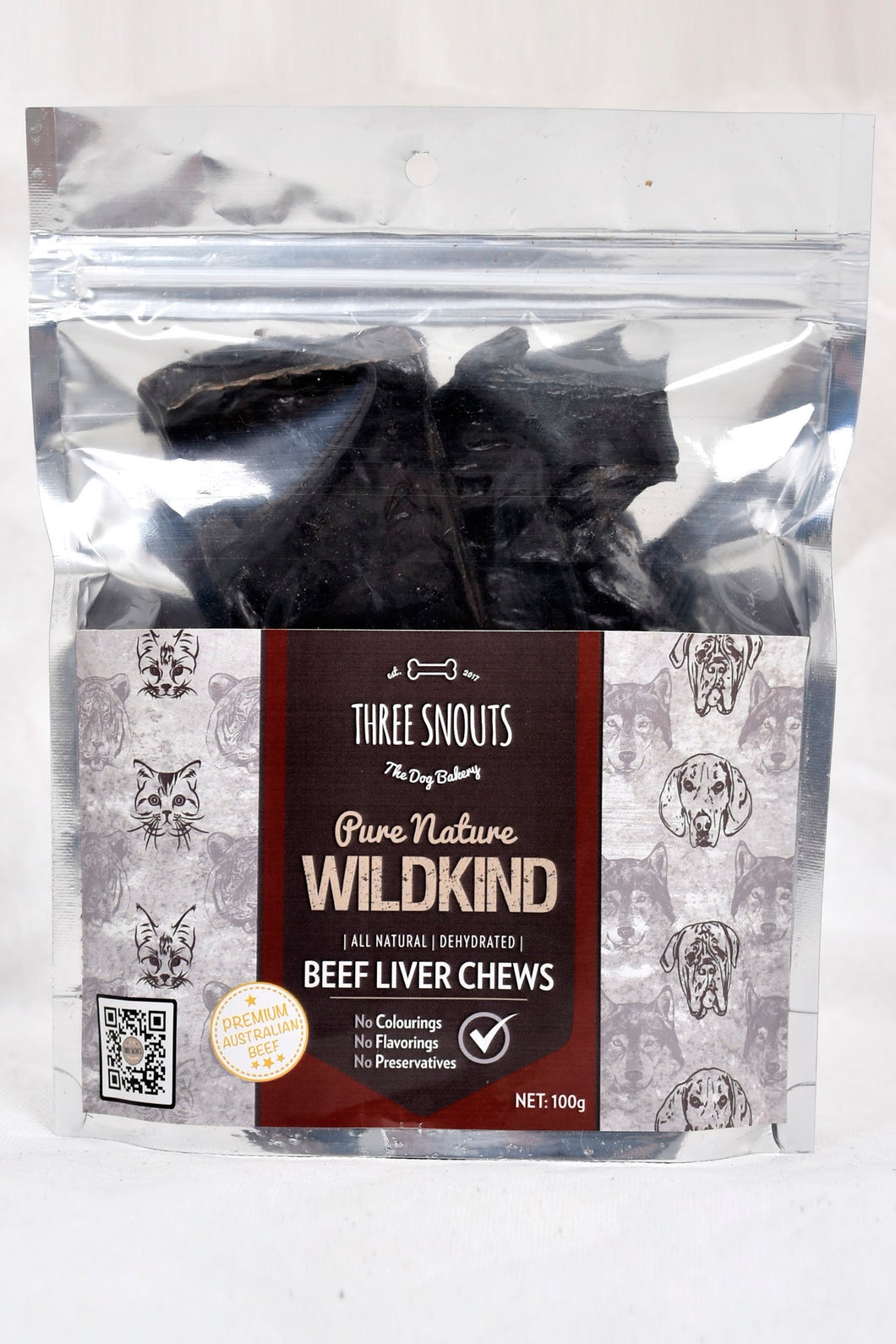 Three Snouts-Pure Nature WILDKIND Beef Liver Chews 100g