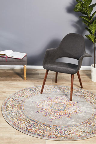 Babylon 211 Grey  Round Rug
