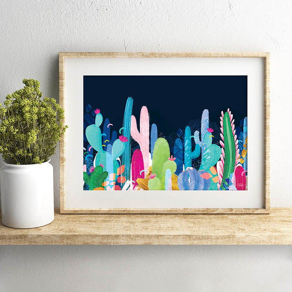 Cactus Fields (Navy)- Art Print