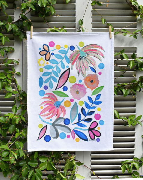 Crazy Floral Tea Towel