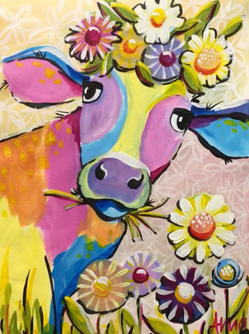 Flower Crown Cow - Paint along class