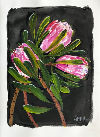 Framed Proteas - Paint along class