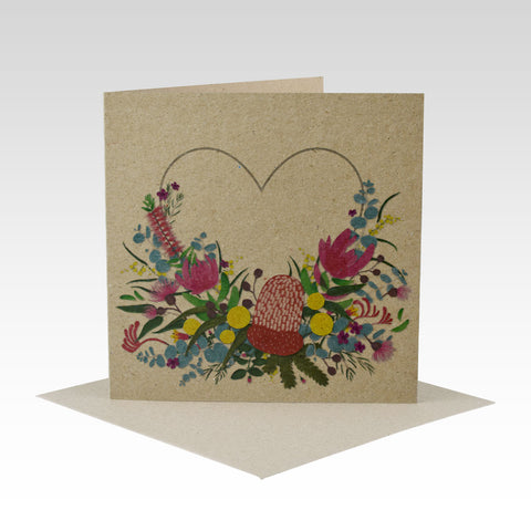Australiana Floral Heart- Greeting Card