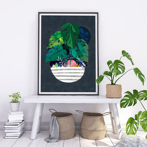 Midnight Monstera- Art Print