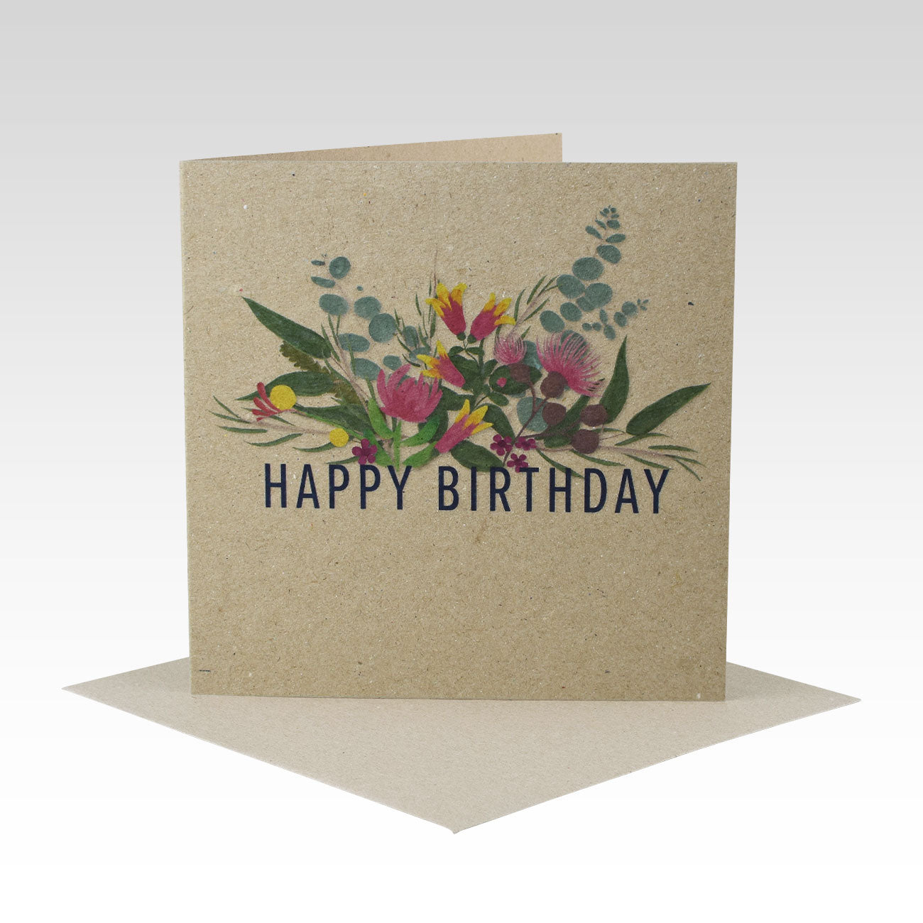 Australiana Floral Happy Birthday- Greeting Card