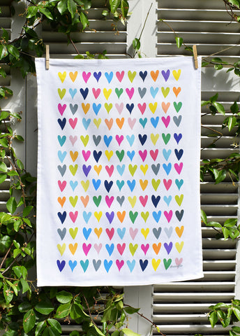 Coloured Hearts Tea Towel