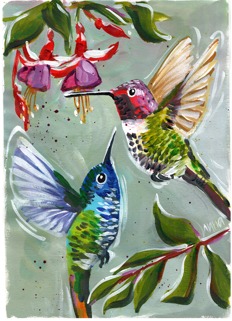 Hummingbirds - Paint along class
