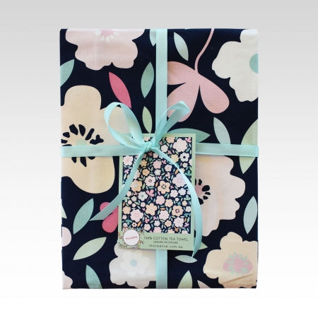 Navy Florals Tea Towel