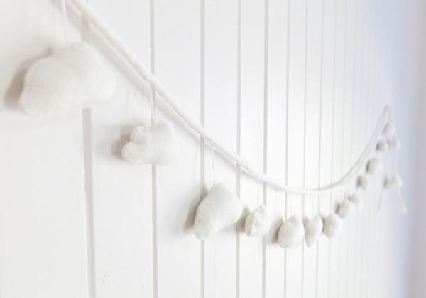 Cream Cloud Puff Felt Garland