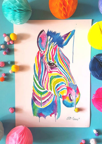 Rainbow Safari- Zebra