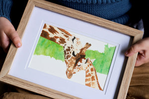 Giraffe and Calf- Mother and Child Print
