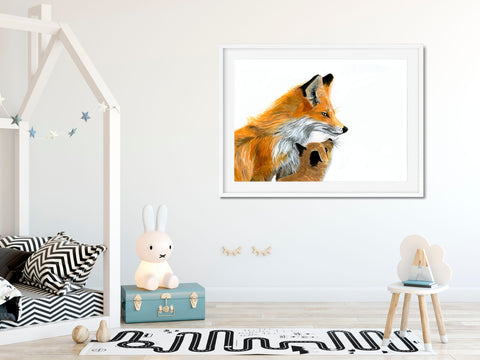 Fox and Cub- Mother and Child Print