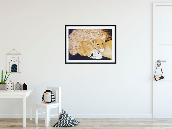 Lion and Cub – Limited Edition A3 Fine Art Print
