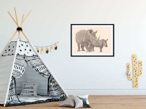 Rhino and Calf- Mother and Child Print