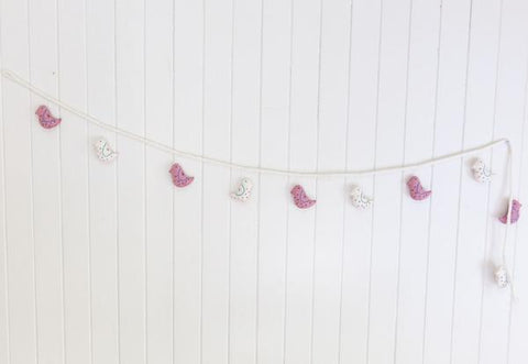 Robin Bird Felt Garland- Pink/Cream