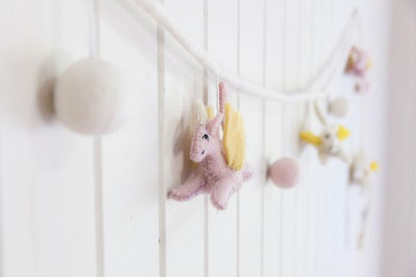 Unicorn Felt Garland- Pink/Sunshine