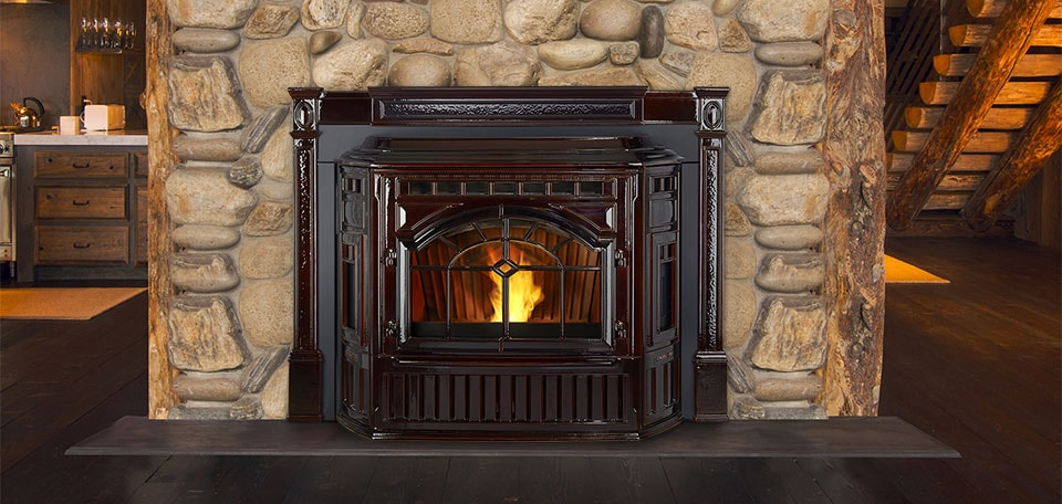 Quadrafire Surrounds * Porcelain Mahogany Cast Trim Surround