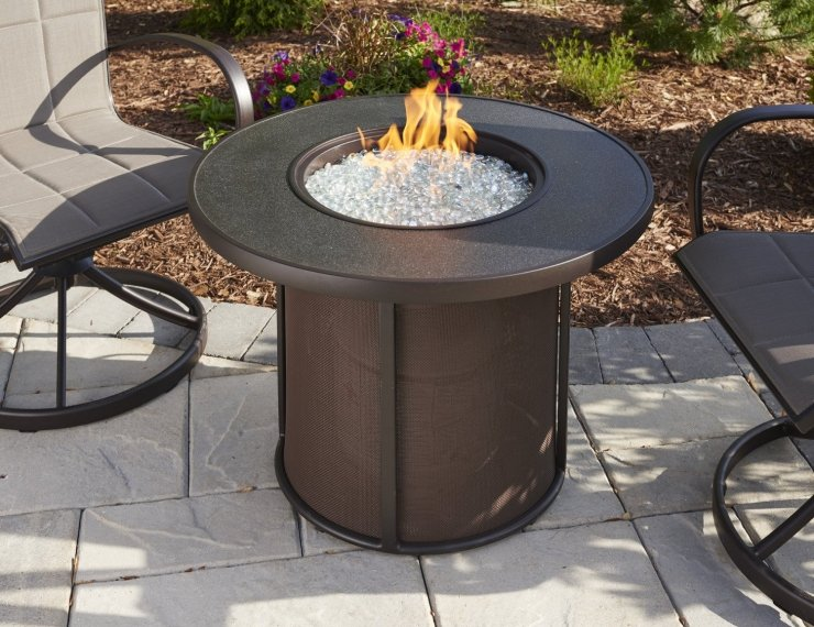 Brown Stonefire Gas Fire Pit Table