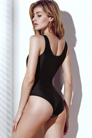 Stylish Women's Color Block Hollow Out One-Piece Swimsuit