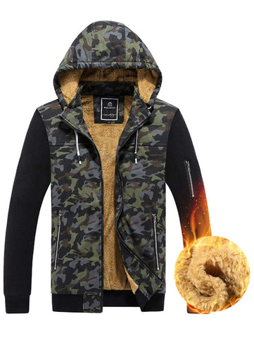 Detachable Hooded Camouflage Fleece Zip Up Jacket