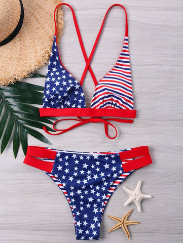 American Flag String Bikini Set