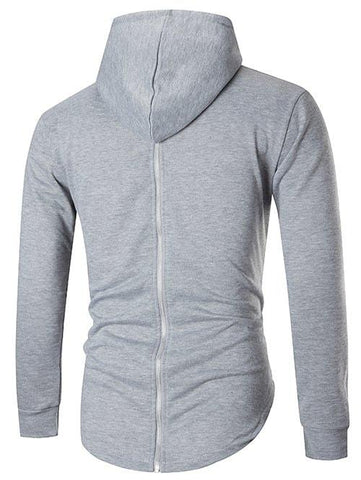 Zip Back Long Sleeve Solid Hoodie