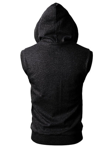 Solid Color Zipper Sport Sleeveless Hoodie